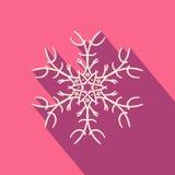 Long shadow filigree snowflake icon Royalty Free Stock Photography