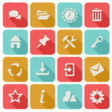 Long Shadow Flat Icons Set 1 Royalty Free Stock Photos