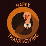 Long Shadow Flat Thanksgiving Turkey Stamp, Vector Illustration Royalty Free Stock Image