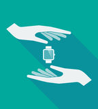 Long shadow hands with a smart watch. Illustration of a long shadow hands protecting a smart watch Royalty Free Stock Photos