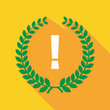 Long shadow laurel wreath icon with an admiration sign Stock Image