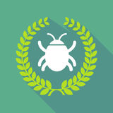 Long shadow laurel wreath icon with a bug Royalty Free Stock Images