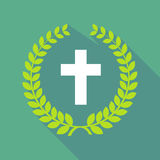Long shadow laurel wreath icon with a christian cross Royalty Free Stock Photography