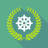 Long shadow laurel wreath icon with a dharma chakra sign Stock Images