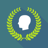 Long shadow laurel wreath icon with a male head. Illustration of a long shadow laurel wreath icon with a male head Royalty Free Stock Photos