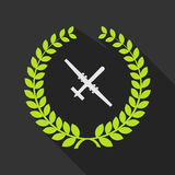 Long shadow laurel wreath icon with a war drone Royalty Free Stock Image