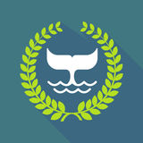 Long shadow laurel wreath icon with a whale tail Stock Image