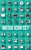 35 Long Shadow Media Icon Set Stock Photography