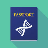 Long shadow passport with a DNA sign Stock Photos