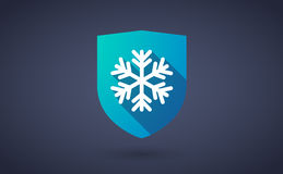Long shadow shield icon with a snow flake Royalty Free Stock Images