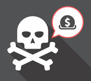 Long shadow skull with  a dollar coin entering in a moneybox. Illustration of a long shadow  skull with a comic balloon and  a dollar coin entering in a moneybox Royalty Free Stock Images