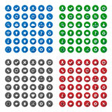 Long shadow style icons. In various colors Royalty Free Stock Photography