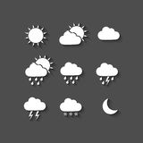 Long shadow style weather icons Royalty Free Stock Photography