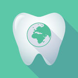 Long shadow tooth with   an Asia, Africa and Europe regions worl Royalty Free Stock Images