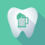 Long shadow tooth with  a beer jar icon Stock Photography
