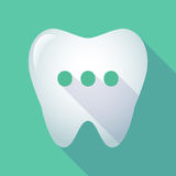 Long shadow tooth with  an ellipsis orthographic sign Royalty Free Stock Photos