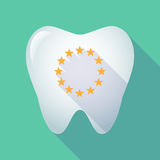 Long shadow tooth with  the EU flag stars Royalty Free Stock Image