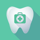 Long shadow tooth with  a first aid kit icon Royalty Free Stock Photography