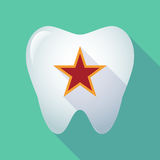 Long shadow tooth with  the red star of communism icon Royalty Free Stock Images