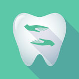 Long shadow tooth with  two hands giving and receiving  or prote Royalty Free Stock Image