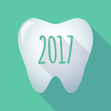 Long shadow tooth with  a 2017 year  number icon. Illustration of a long shadow  tooth with  a 2017 year  number icon Stock Photos