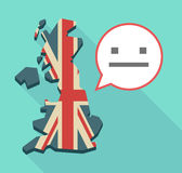 Long shadow UK map with a emotionless text face Stock Photo