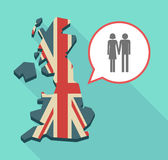 Long shadow UK map with a heterosexual couple pictogram Stock Photo