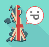 Long shadow UK map with a sticking out tongue text face Royalty Free Stock Photography