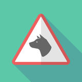 Long shadow warning sign with  a dog head. Illustration of a long shadow warning sign with  a dog head Stock Images