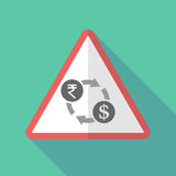 Long shadow warning sign with  a rupee and dollar exchange sign Royalty Free Stock Images