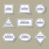 Long shadow white geometrical weekdays stickers set Stock Images