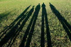 Long shadows of family Stock Photo