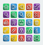 Long Shadows Flat Icons Set. Set of 25 long  shadows flat icons for web browsing Stock Image