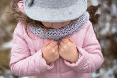 Long shaggy girl in jacket, gray scarf and fedora hat Stock Images