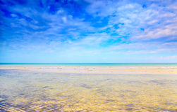 Long shallows and sand ripples on beach Royalty Free Stock Photography