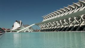 Long shoot inside Ciudad de las artes i ciencias stock video