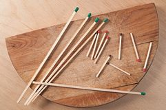Long and short matches in bulk Stock Image