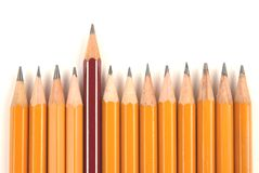 Long and short pencils. On white background stock photography
