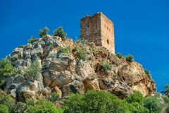 Almenara village tower on top of the hill Royalty Free Stock Image