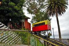 Long shot of the Ascensor Artillería in Valparaiso Stock Photos