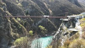 Long shot of bungy jumping in Queenstown