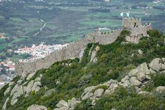 Castle of moors wall in Sintra, Portugal Royalty Free Stock Image