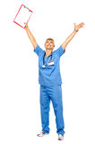 Long shot of a jubilant doctor celebrating her success Stock Images