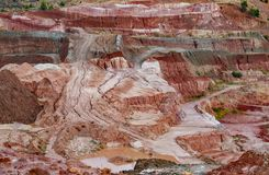 Kaolin strip mine detailed view with bright colors stock images