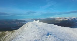 Observatory on the top of a mountain. Drone video stock video footage