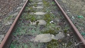 Long shot on old railway lines stock footage