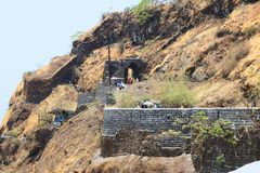 Long shot of Pune Darwaza, Sinhagad fort, Pune. From Maharashtra, India stock images