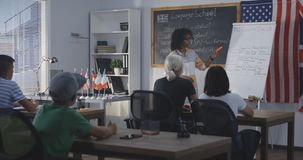 Teacher using flip chart while explaining to a class royalty free stock photography