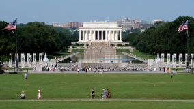 Long Shot of Tourists Visiting the Lincoln Memorial stock video footage