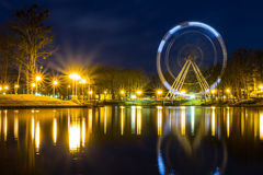 Long shutter on the ferris in the park. evening Royalty Free Stock Images